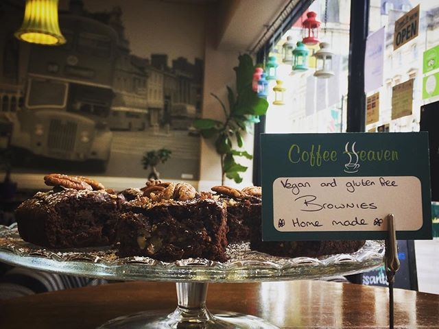 Come and try some freshly made #vegan #glutenfree #brownies  @coffeeheavencardiff We're open until 4pm today. Tell us what you think. ?